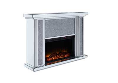 Nowles Mirrored & Faux Stones Fireplace