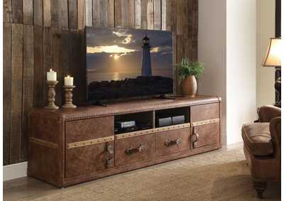 Image for Aberdeen Retro Brown Top Grain Leather TV Stand