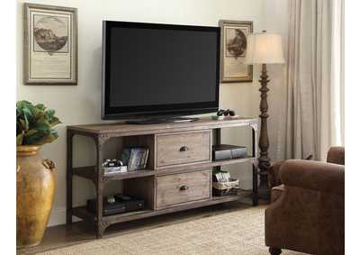Gorden Weathered Oak & Antique Silver TV Stand