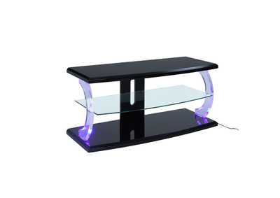 Aileen Black & Clear Glass TV Stand