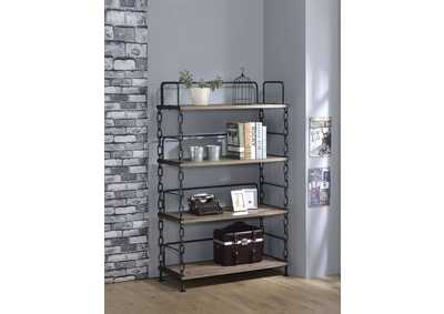 Jodie Rustic Oak/Antique Black Bookshelf