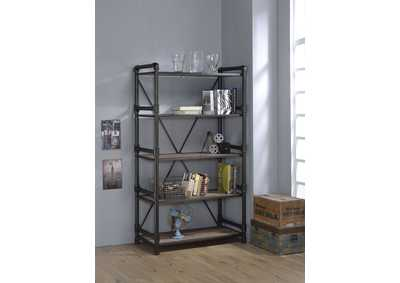 Caitlin Rustic Oak/Black Bookshelf