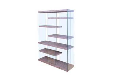 Booyd Faux Concrete & Clear Glass Bookshelf