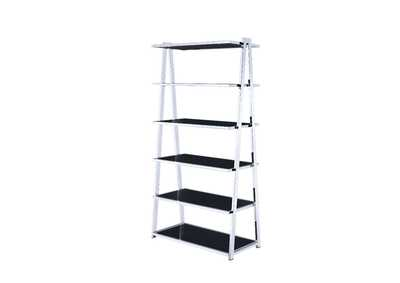 Coleen Black High Gloss & Chrome Bookshelf