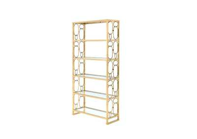 Milavera Gold & Clear Glass Bookshelf