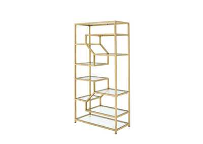 Lecanga Gold & Clear Glass Bookshelf