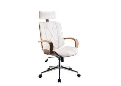 Image for Yoselin White PU & Walnut Office Chair