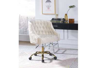 Levian Vintage Cream Velvet & Gold Office Chair