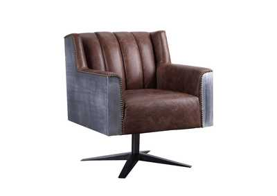 Brancaster Retro Brown Top Grain Leather & Aluminum Executive Office Chair