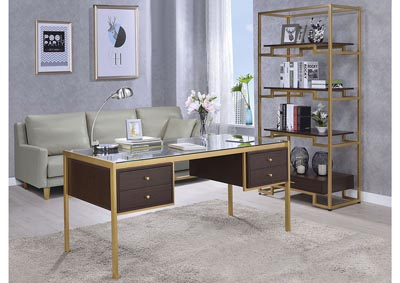 Yumia Gold/Clear Glass Desk