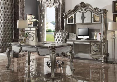 Image for Versailles Antique Platinum Computer Desk & Hutch