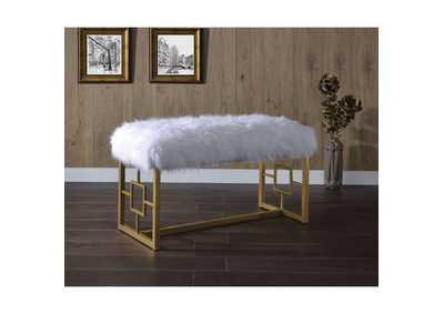 Bagley II White Faux Fur & Gold Bench