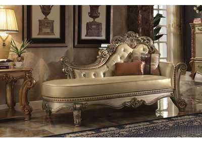 Image for Vendome Bone PU & Gold Patina Chaise