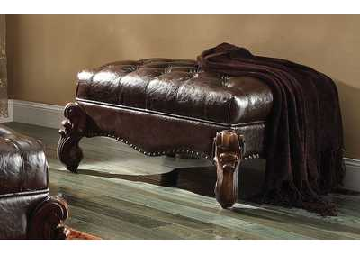 Versailles 2-Tone Dark Brown PU & Cherry Oak Ottoman,Acme