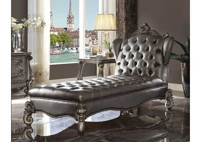Versailles Silver PU & Antique Platinum Chaise