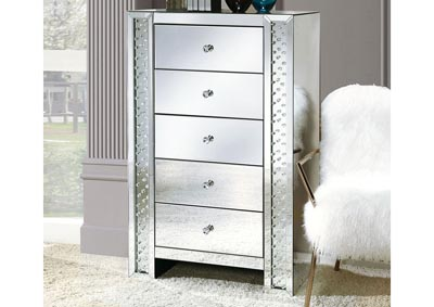 Nysa Mirrored/Faux Crystals Cabinet