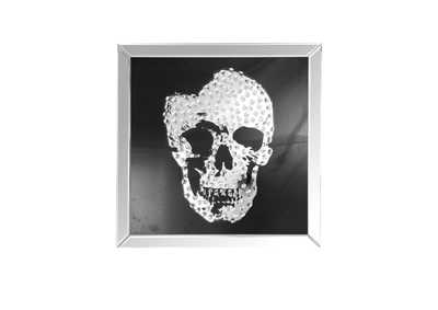 Image for Nevina Mirrored & Faux Crystal Skull Wall Art