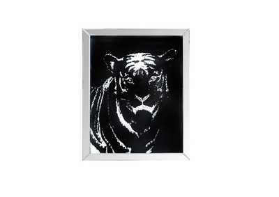 Image for Nevina Mirrored & Faux Crystal Tiger Wall Art