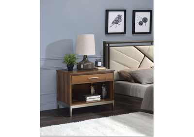 Sterret Walnut & Satin Plated Accent Table,Acme