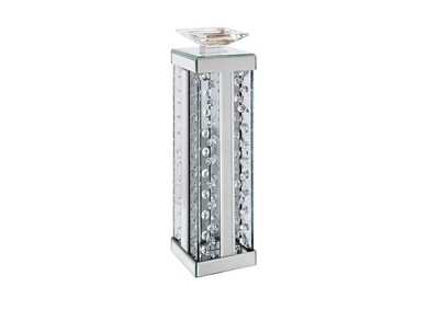 Nysa Mirrored & Faux Crystals Accent Candleholder