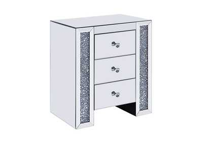 Noralie Mirrored/Faux Diamonds End Table,Acme