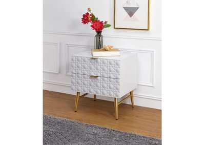 Maisey II White & Gold Nightstand,Acme