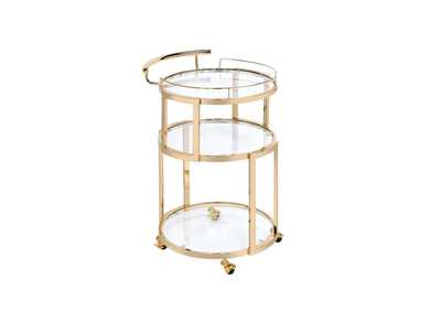 Madelina Gold/Clear Glass Serving Cart