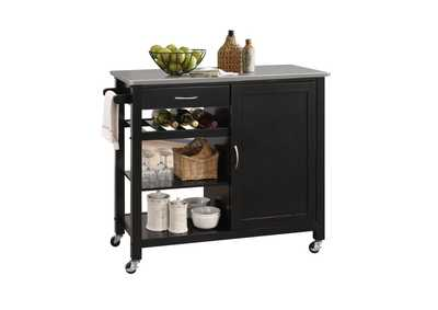 Ottawa Stainless Steel/Black Kitchen Cart