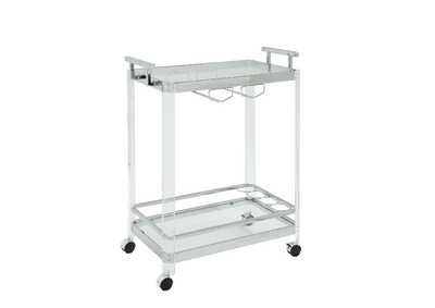 Araldo Clear Acrylic, Chrome & Clear Glass Serving Cart