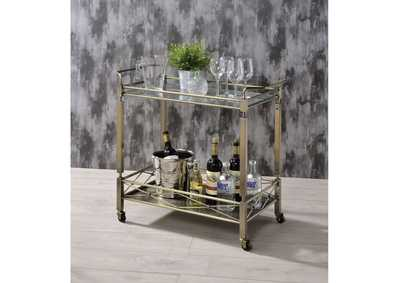 Matiesen Antique Gold & Clear Glass Serving Cart