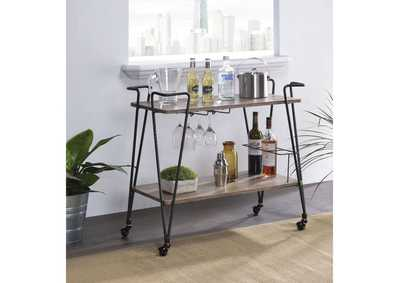 Paulsen Rustic Oak & Dark Bronze Serving Cart