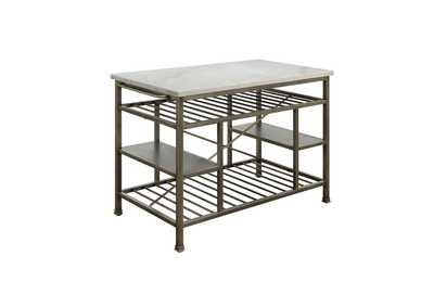 Lanzo Silver Kitchen Island