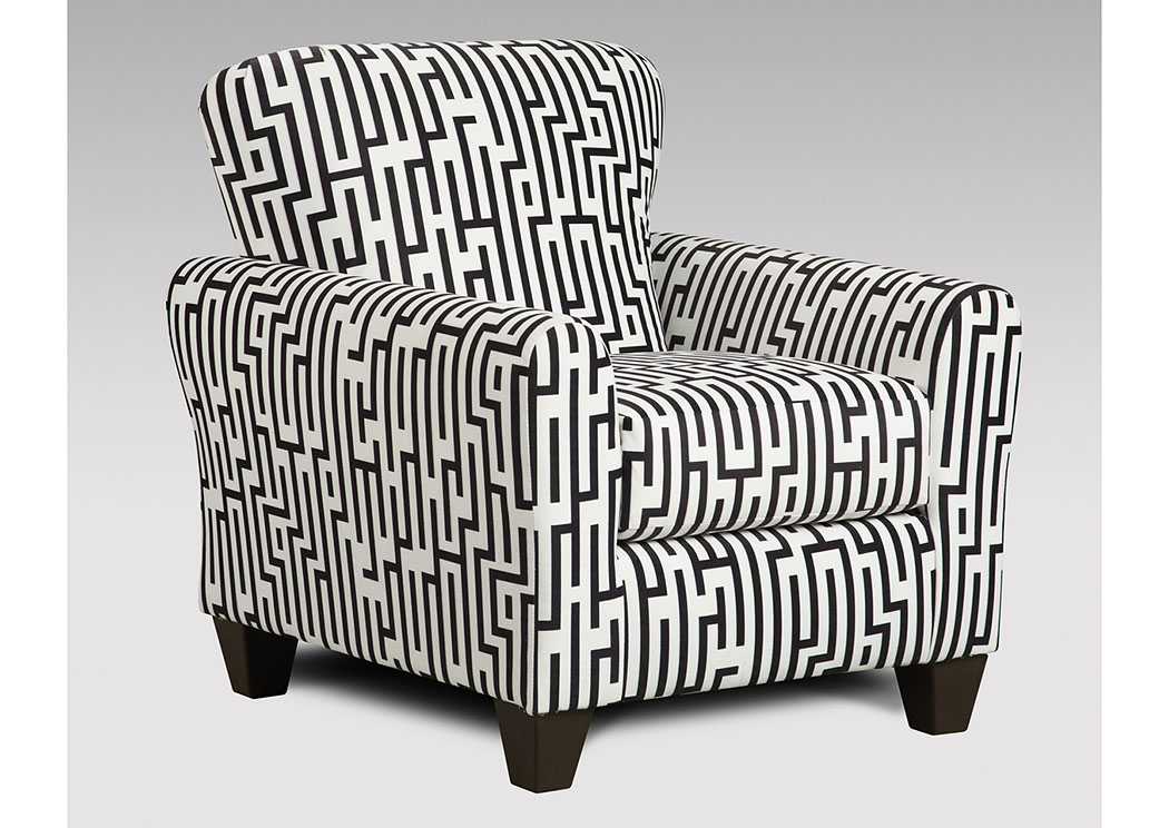 Maze Black & White Accent Chair,Affordable Furniture
