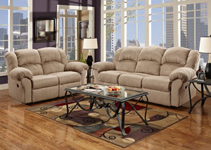Image for Sensationas Camel Reclining Loveseat
