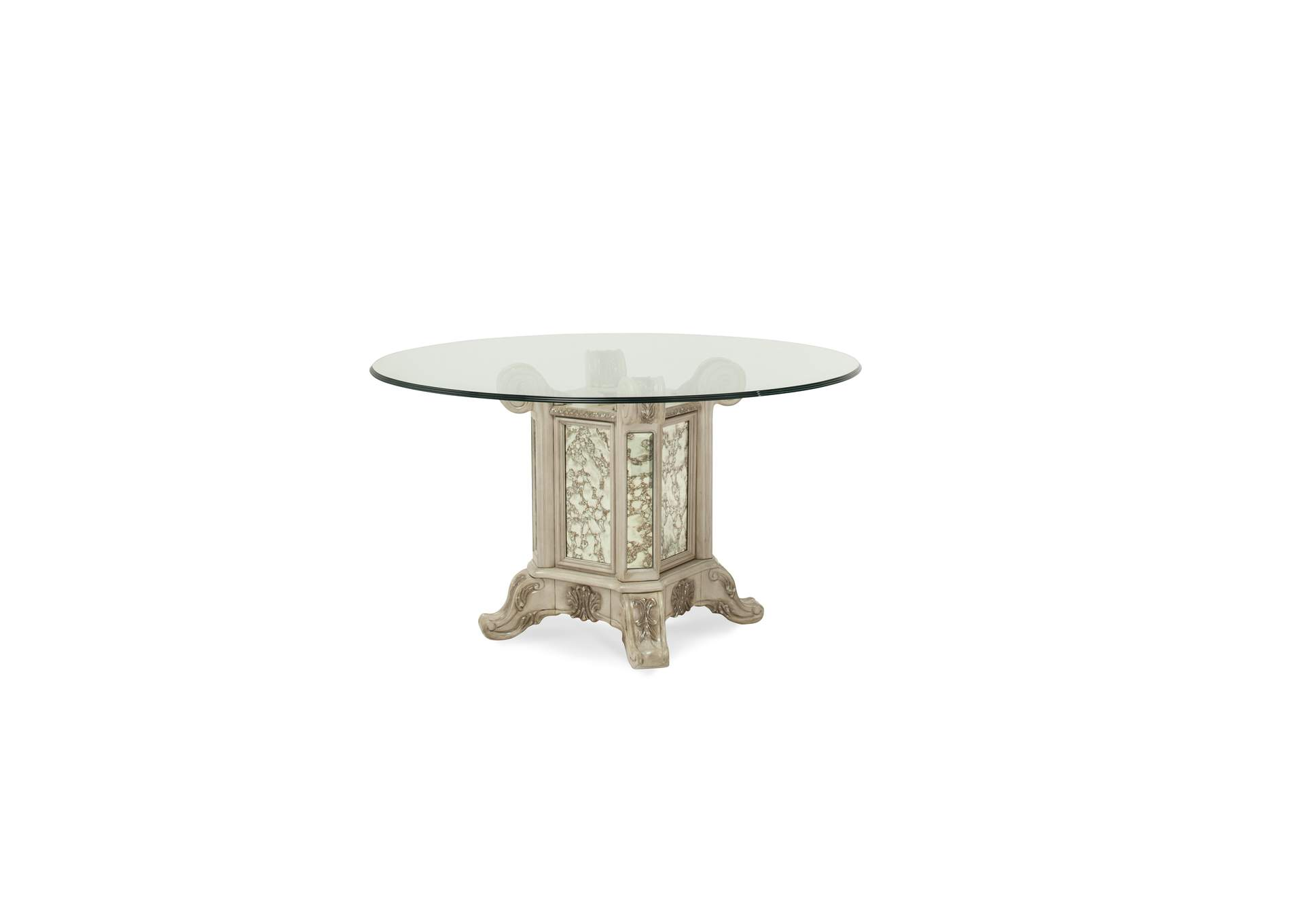 "Platine de Royale Champagne 54"" Round Glass Top Table w/Base,AICO"