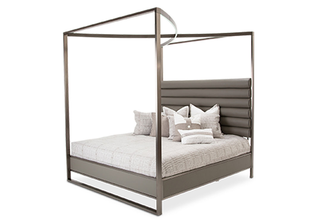 "Metro Lights""Cal.King Metal Bed""Midnight,AICO"