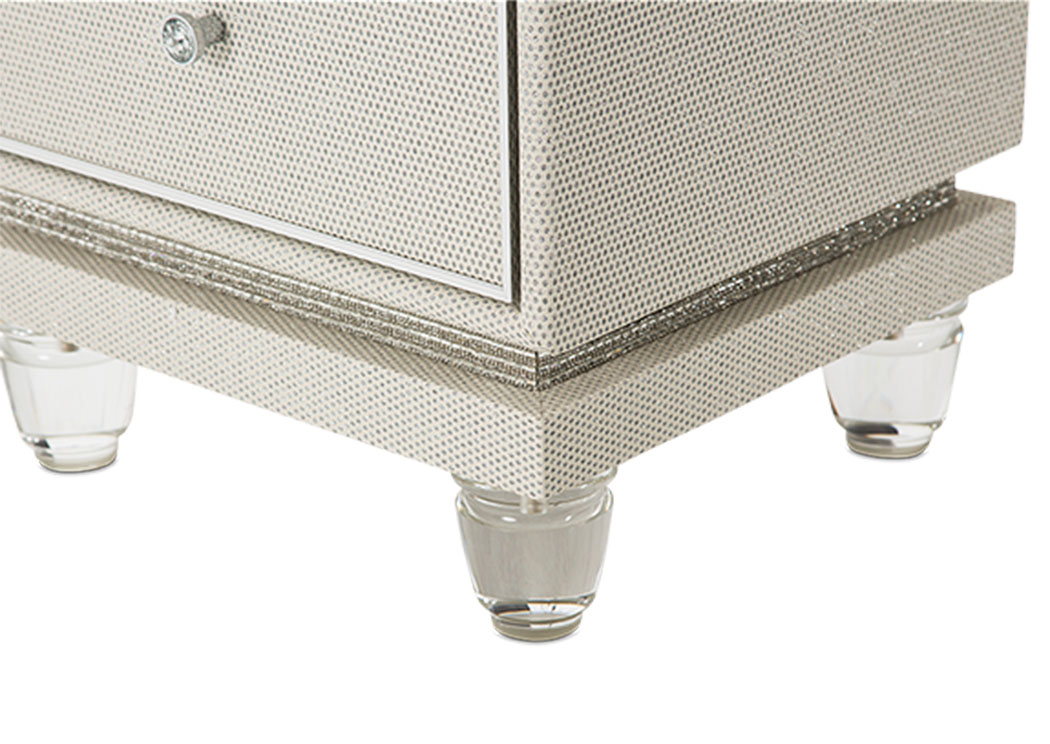 Glimmering Heights Ivory Upholstered Swivel Lingerie Chest,AICO