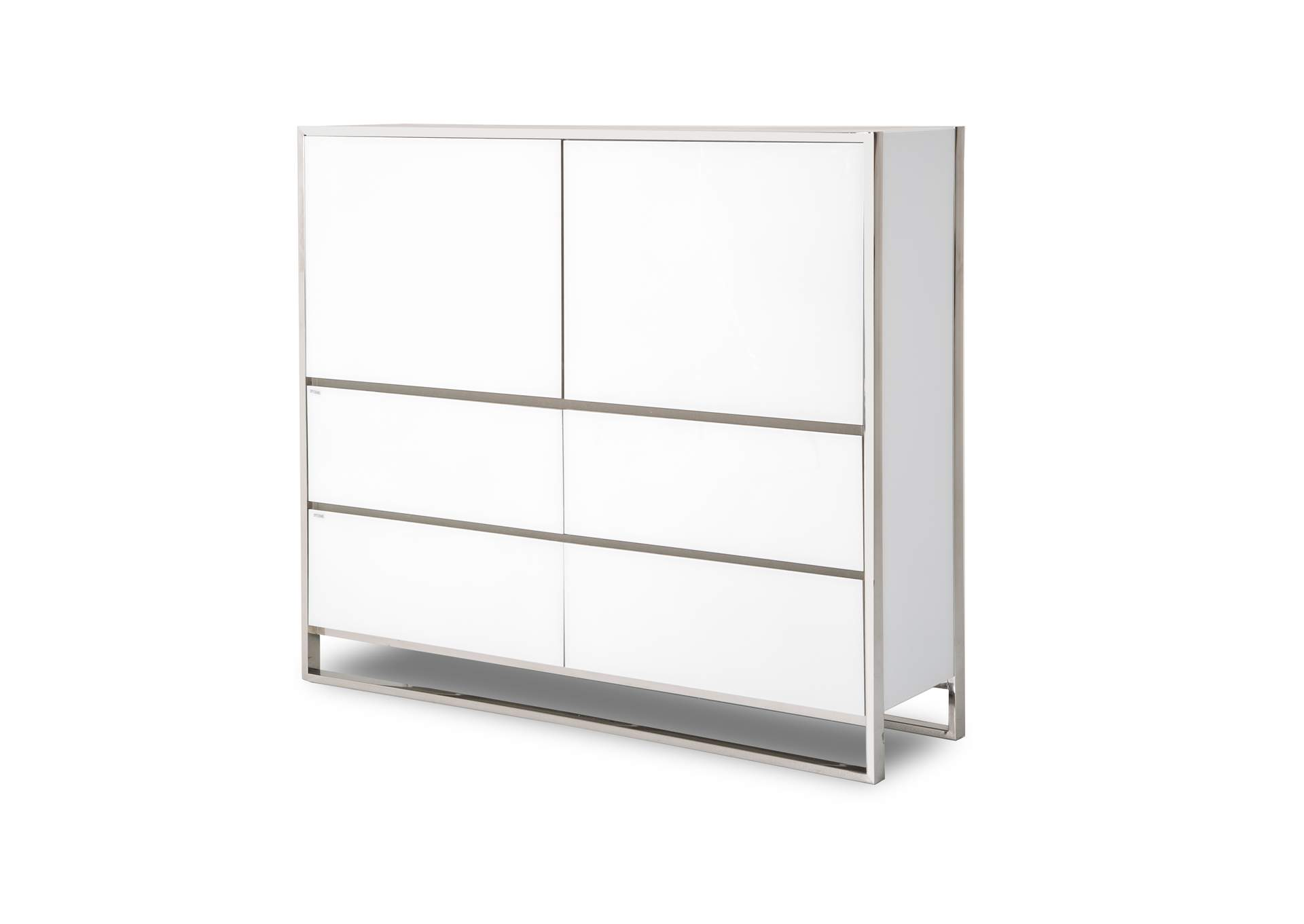 State St. Glossy White Metal Storage Cabinet,AICO