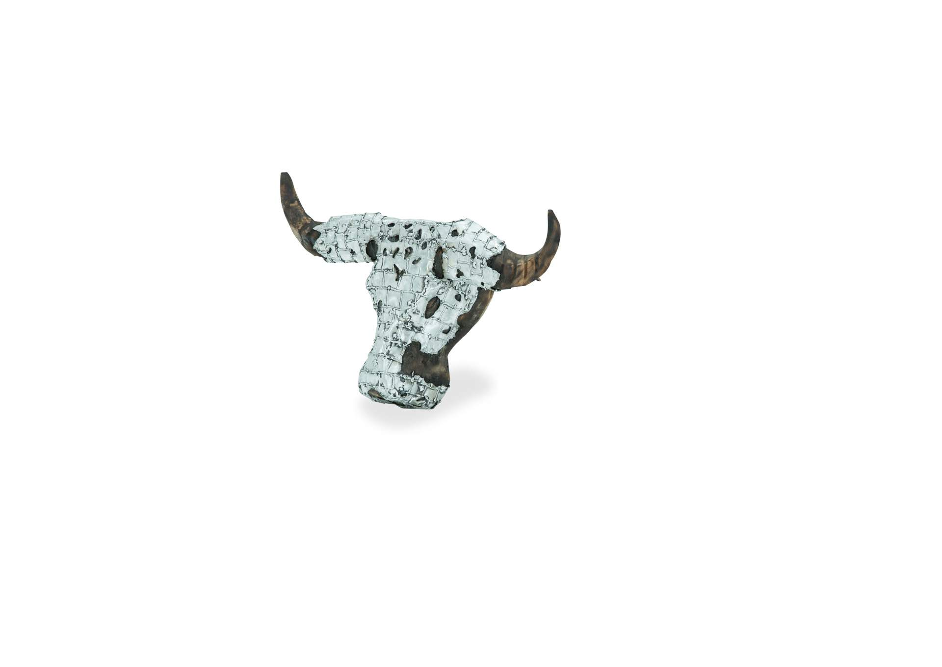 Discoveries Brown Buffalo Head w/Hand Applied Aluminum Accents,AICO