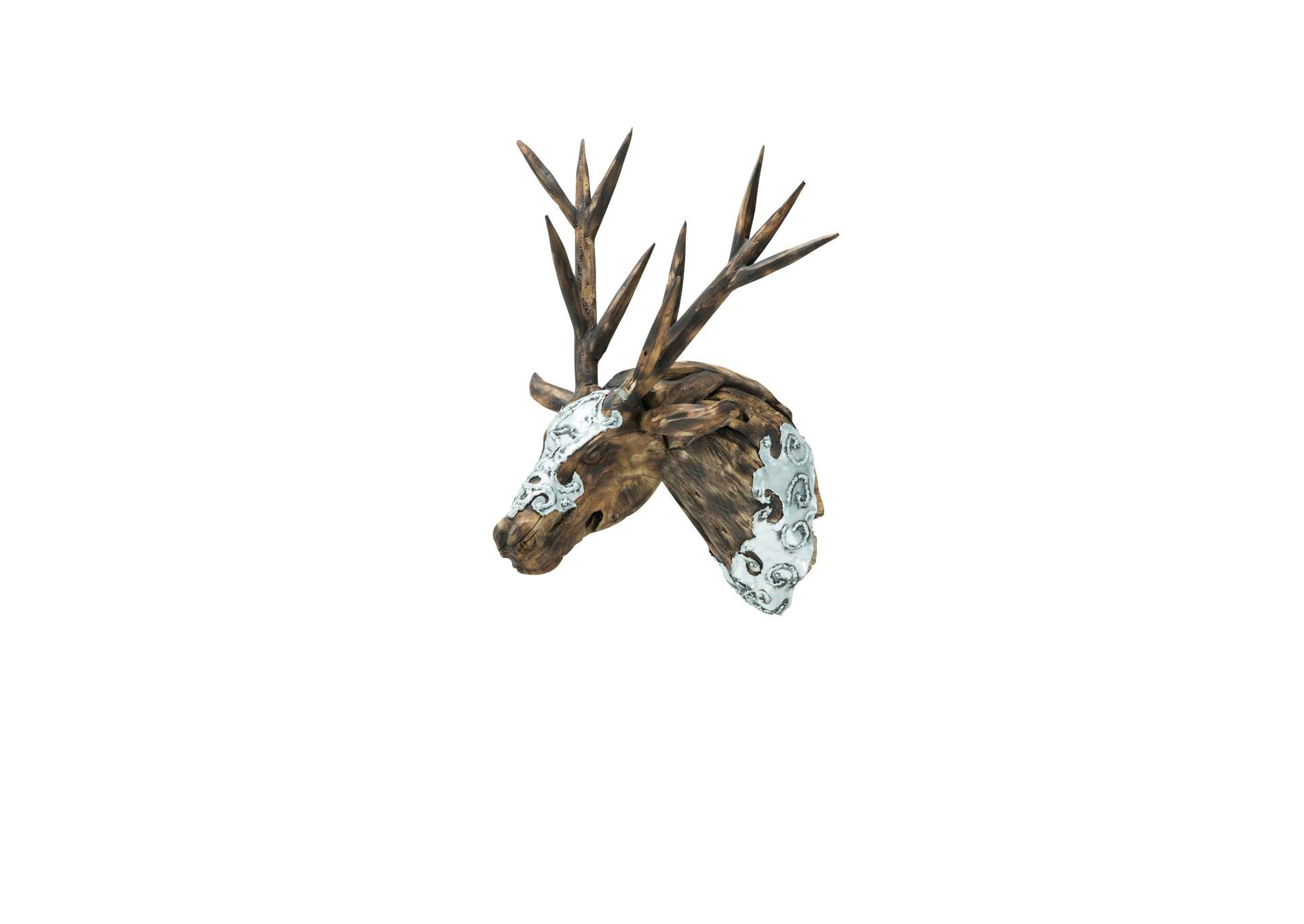 Dear Head w/Wood Antlers and Hand Applied Aluminum,AICO