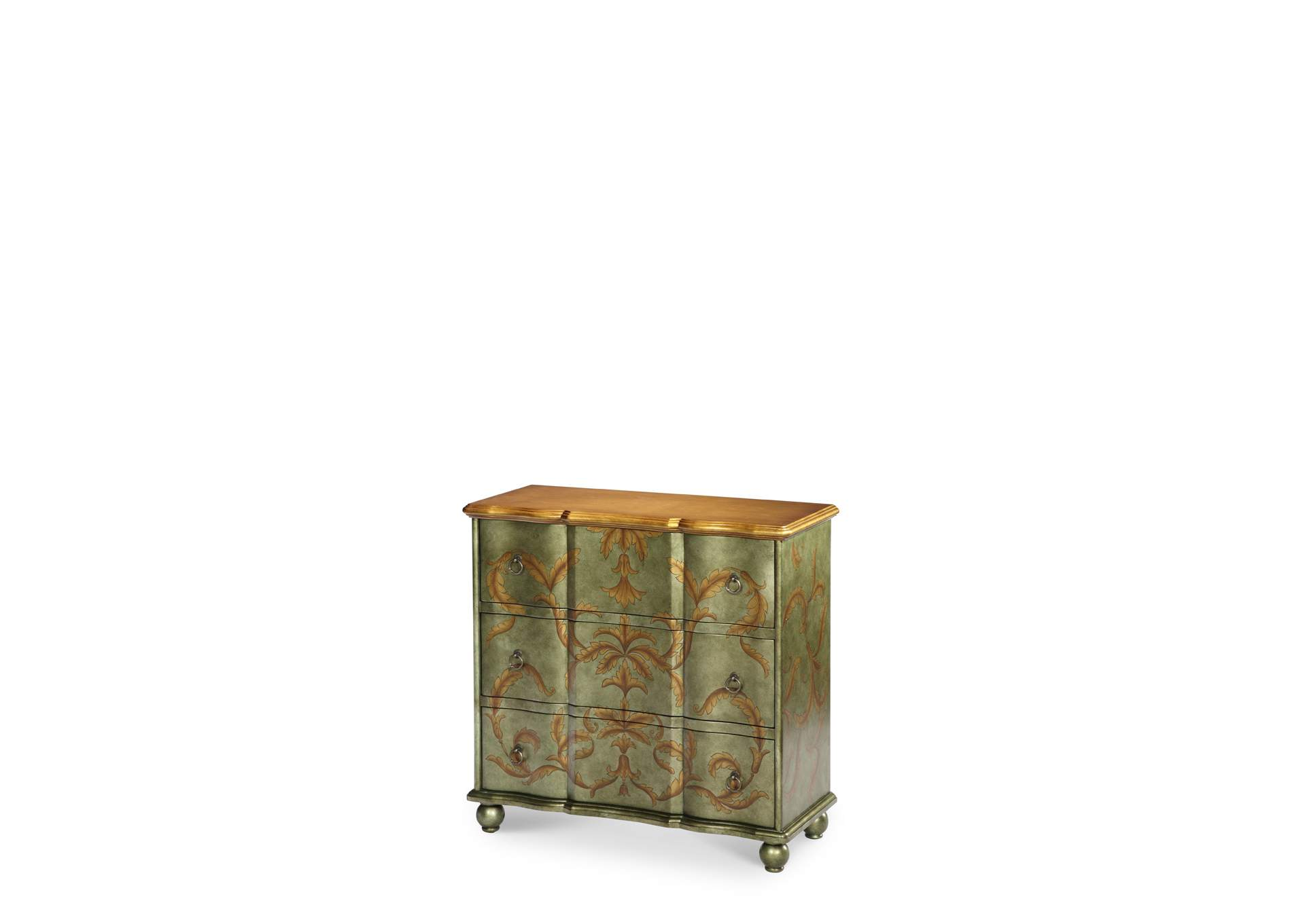 Discoveries Silver Green Storage Chest W/Leaf,AICO
