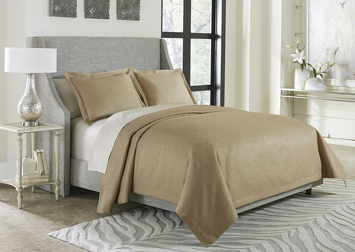 Alton 3 Piece Gold King Bed Throw Set,AICO