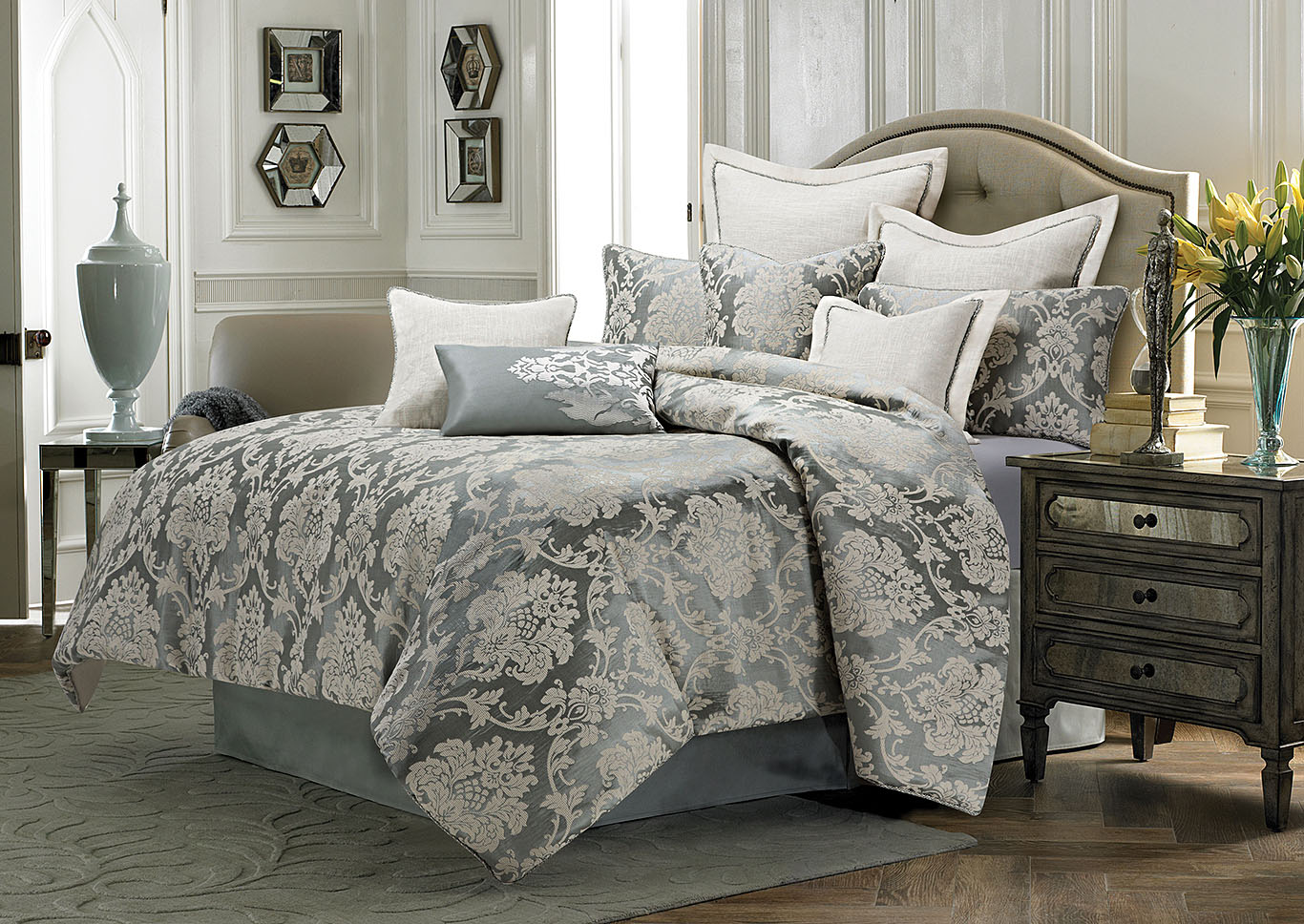 Cambria Silver 9 pc. Queen Comforter Set,AICO