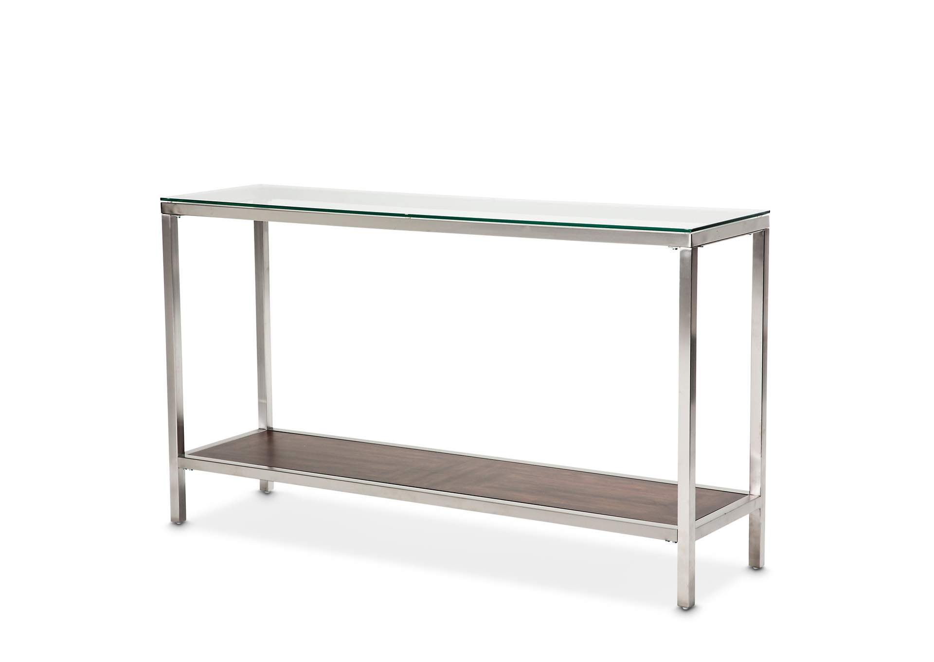 Diversey White Console Table w/Glass Top,AICO