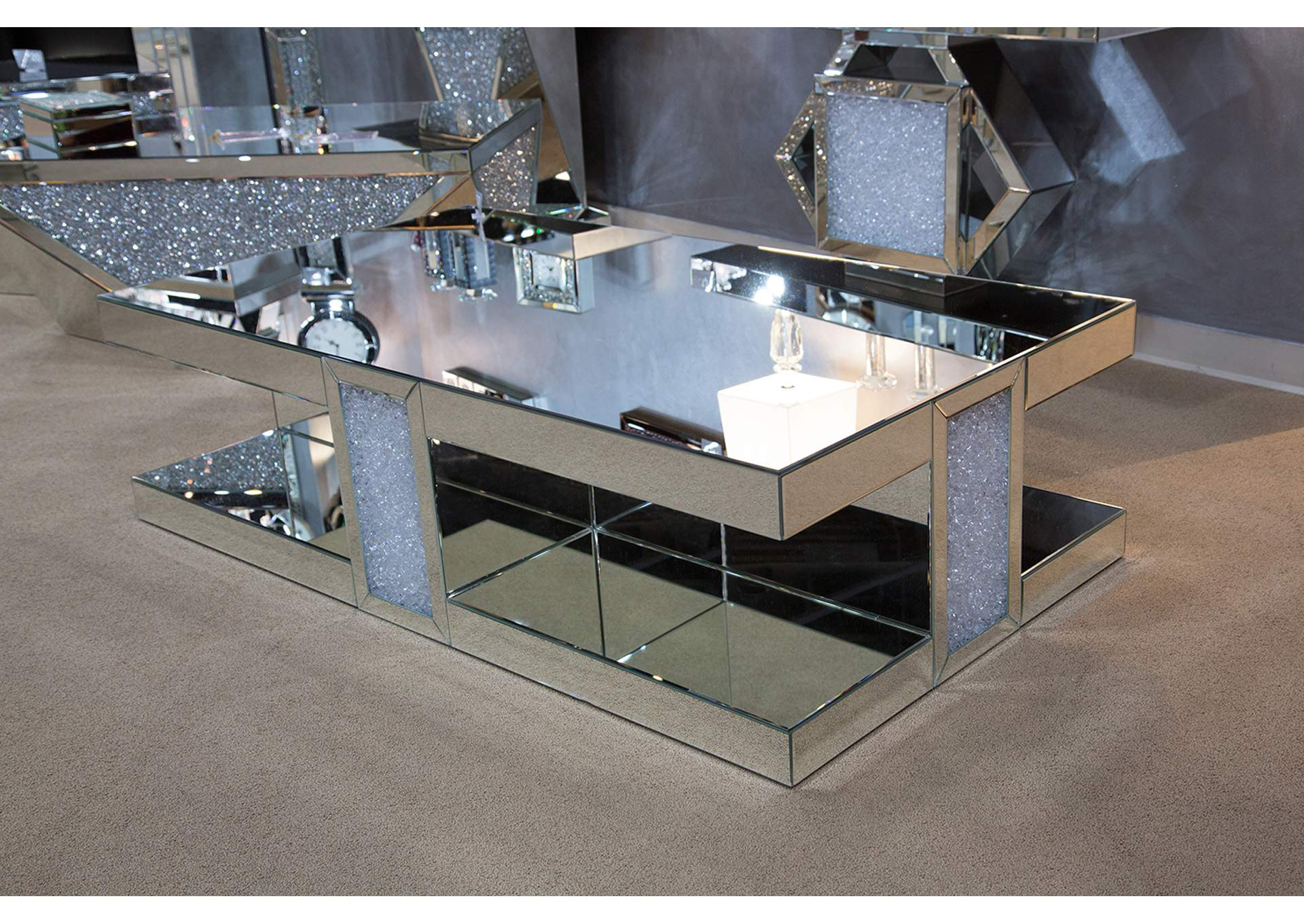 Montreal Silver Mirrored Cocktail Table,AICO