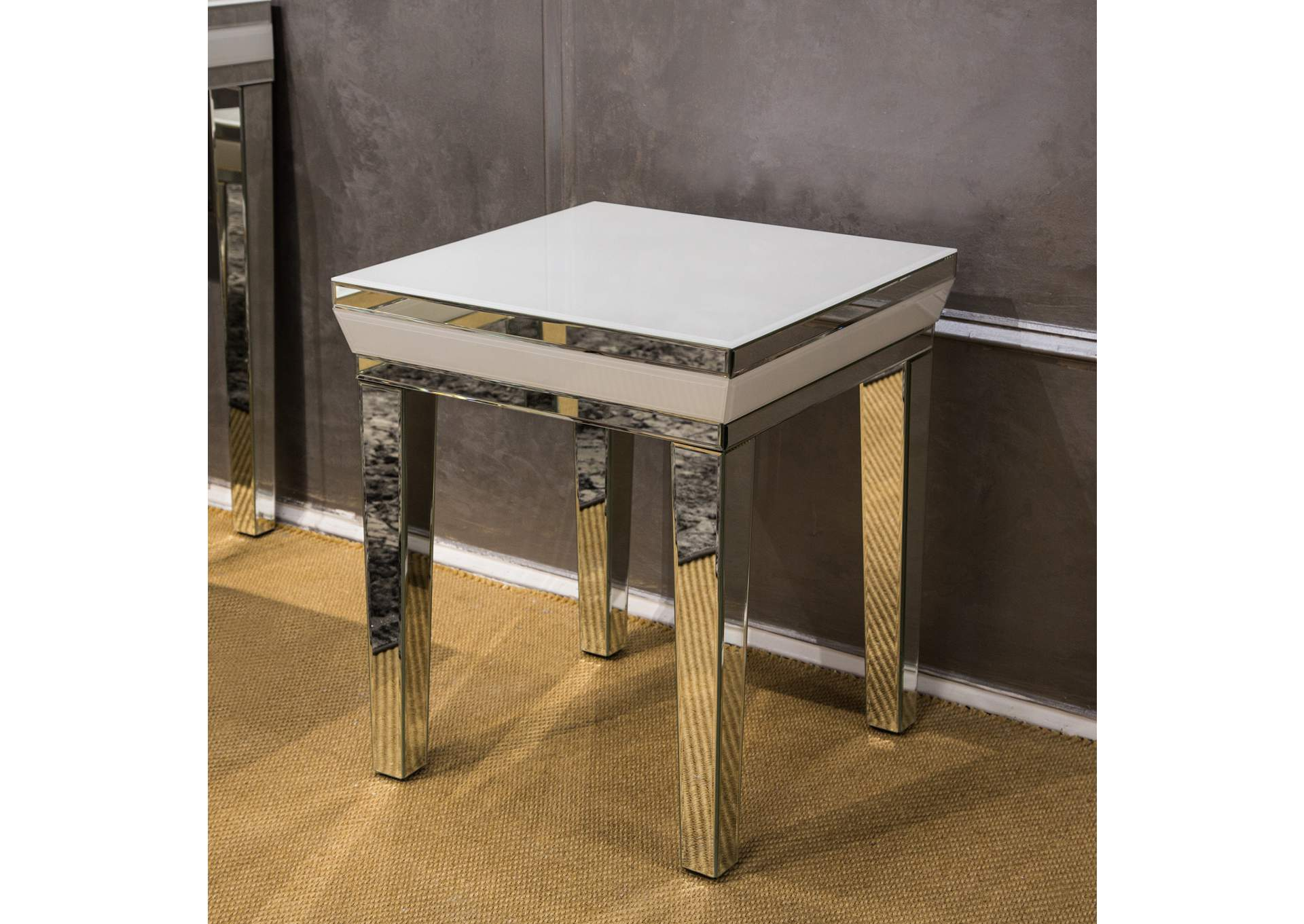 Montreal White Square End Table,AICO