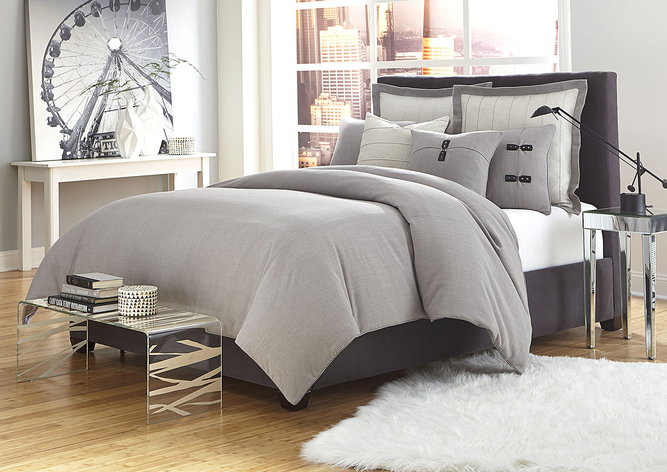 Fusion Grey 8 pc. King Duvet Set,AICO