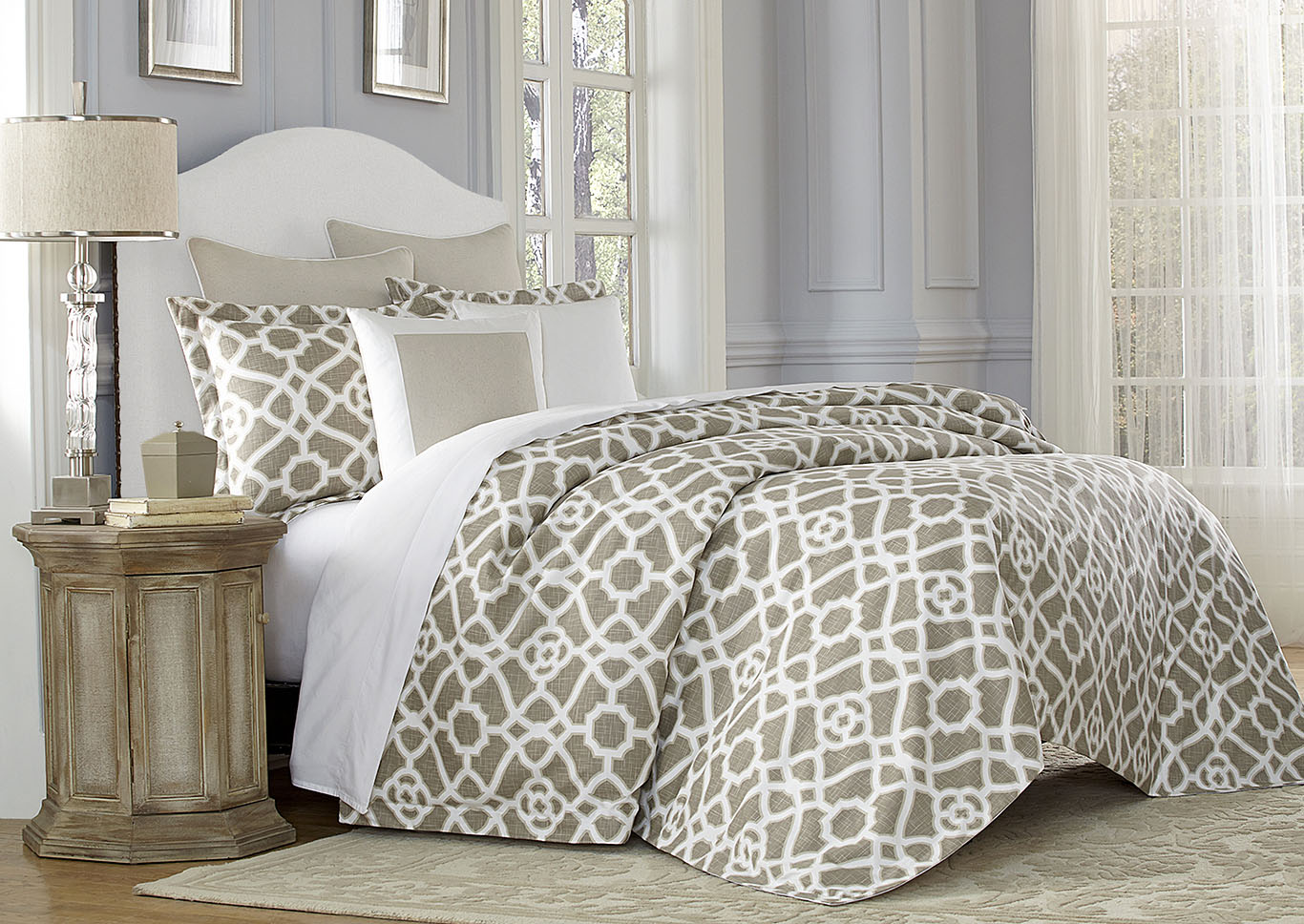 Juliette Nautral 8 pc. King Duvet Set,AICO