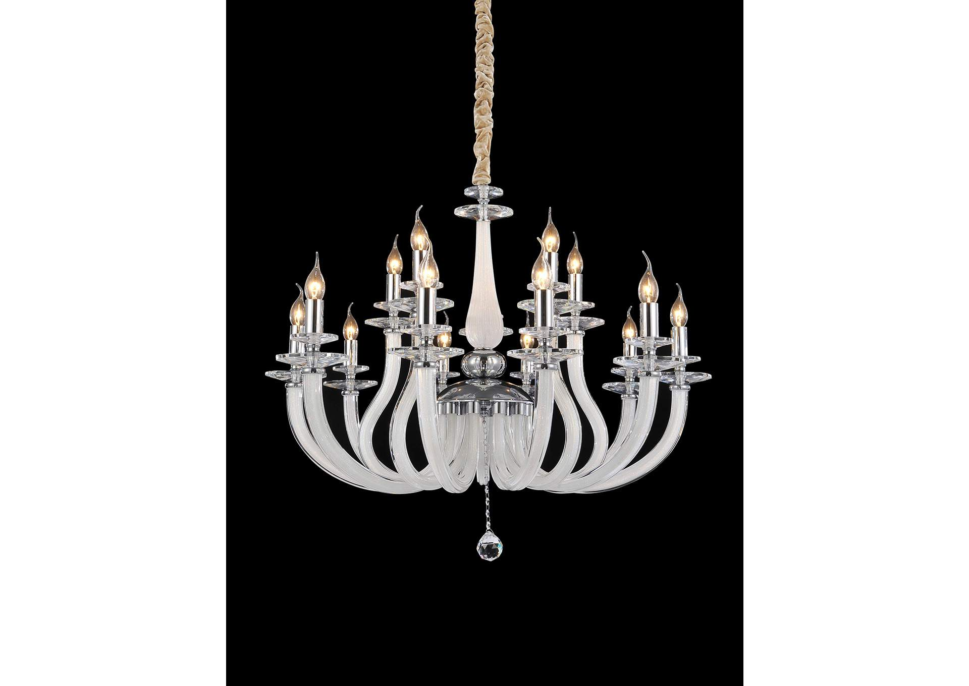 San Marco Glass & Chrome 15 Light Chandelier 220V,AICO