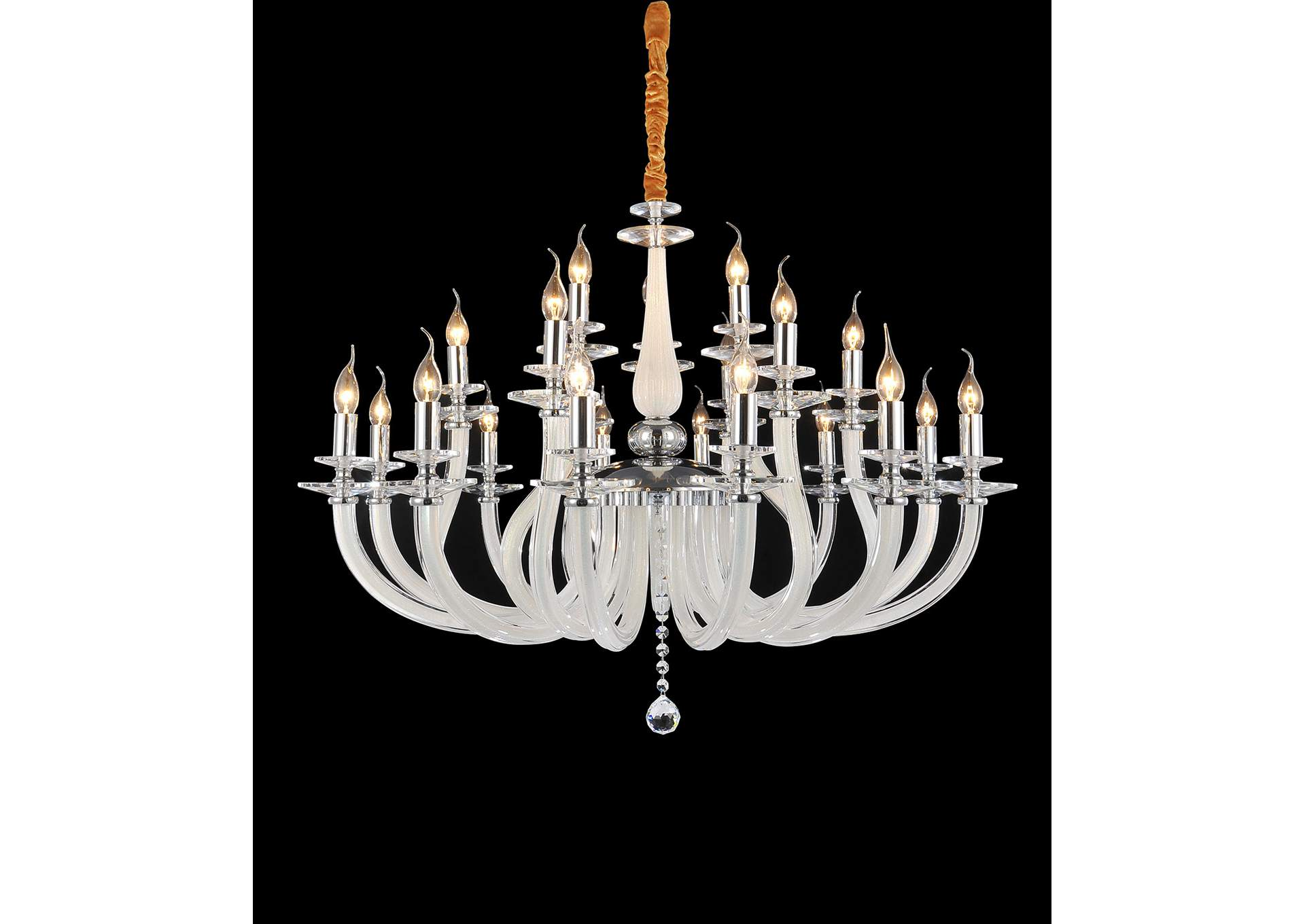San Marco Glass & Chrome 21 Light Chandelier 220V,AICO